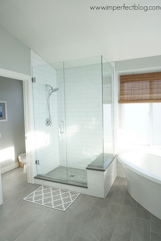 master bathroom remodel white and gray tile
