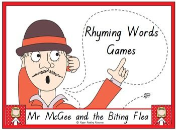 """Four rhyming words games are included based on the rhyming words in """"Mr McGee and the Biting Flea"""" by Pamela Allen. This is a hands-on activity which is terrific for literacy rotations or fast finishers.Please note that you will need a copy of the picture book to make the best use of this resource.There are three different 'twists' in one of the rhyming words games using the """"You've been bitten"""" flea cards for players to either lose their cards, miss a go or have another turn.Also included…"""