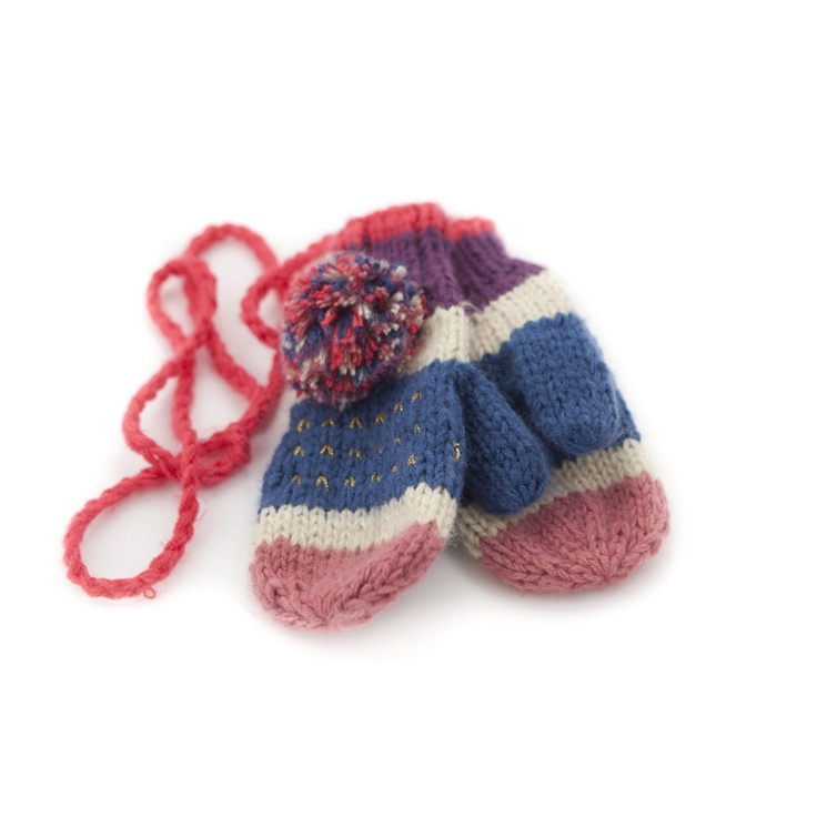 knit mittens with pompoms
