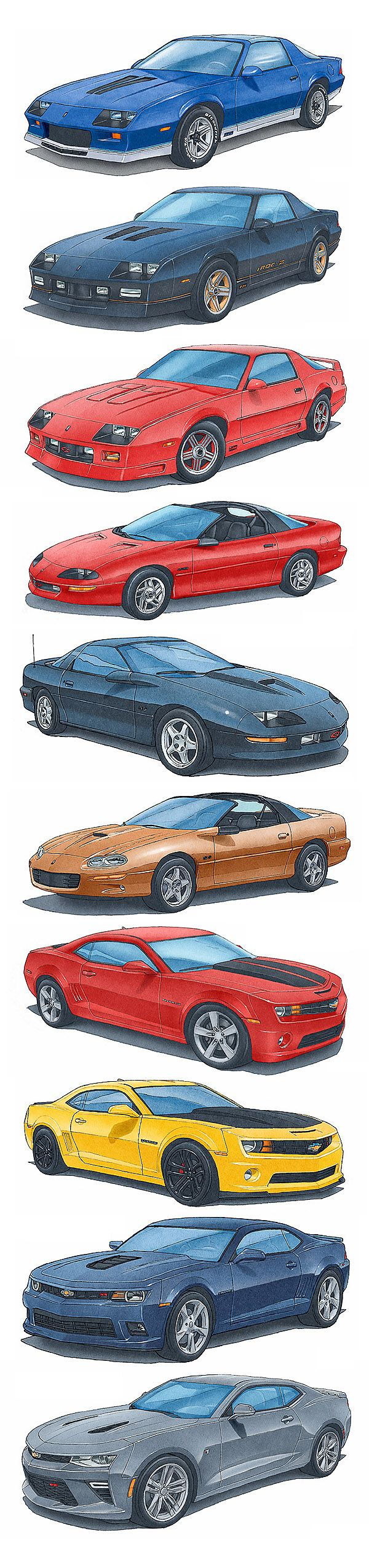 The most powerful Camaro Z28 and SS from 1982 to 2016.  Artwork by Alain Lemire