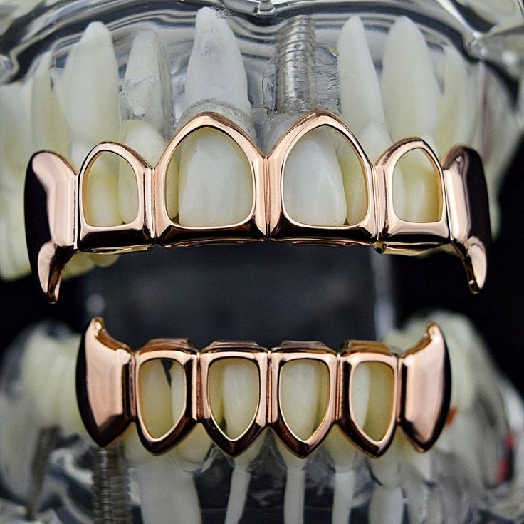 14k Rose Gold Plated Fang Grillz Four Open Face Teeth Set