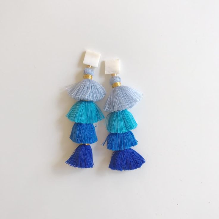 mother of pearl + blue ombre tier tassels