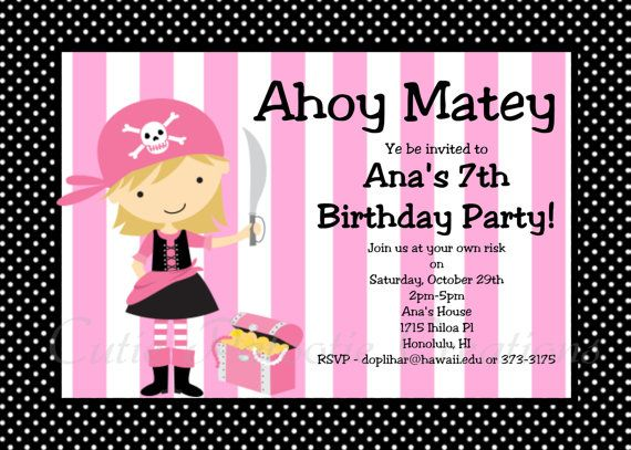 Girl Pirate Birthday Invitation Pink Pirate Party Invitations Printable or Printed