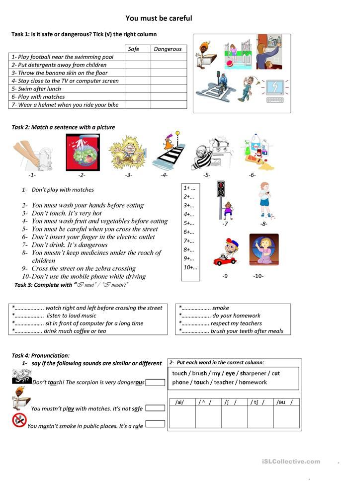 You Must Be Careful Modal Verbs Worksheets Teaching Jobs Health worksheets 4th grade