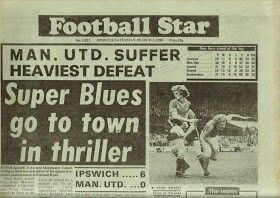 Ipswich Town 6 Man Utd 0 in March 1980 at Portman Road. A newspaper report on the game #Div1