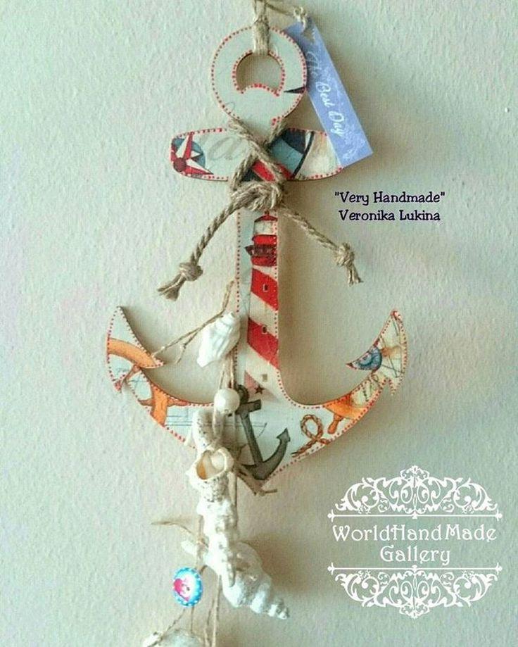 ☝️!!!!SALE! Принимаем заказы! 100% Hand-Made 👍 . ⚓️ Деревянный якорь послужит хорошим подарком, ведь это ручная работа. Автор бережно упакует вещь и передаст или отправит Вам её самым удобным способом, о котором Вы договоритесь после оформления заказа. 🌍 http://world-handmade-gallery.com/ ____________________________ 👩 Veronika Lukina 🏡 Interior deco ⚓️Декоративная подвеска, деревянный якорь выполнен в технике декупаж +контур. 🐚Ракушки, бечевка, бусины. 💵Цена: 120 фунтов…