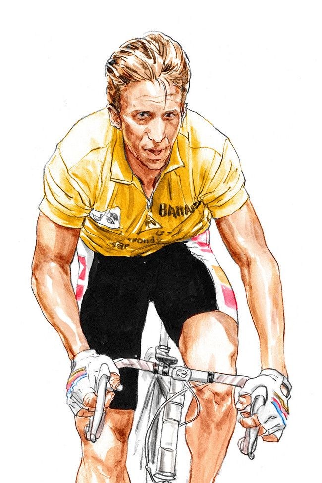 Ilustraciones de Rupert Smissen de las estrellas ciclistas. - ciclografias