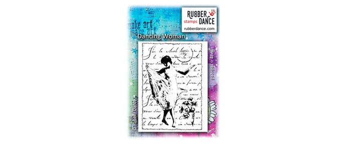Dancing Woman. UN-mounted, red rubber stamp. Size is about 10 x 7 cm.