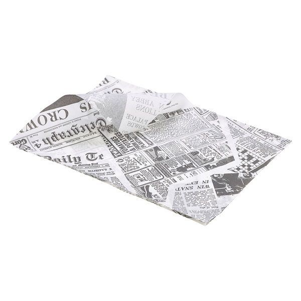 White Newspaper Print Greaseproof Paper