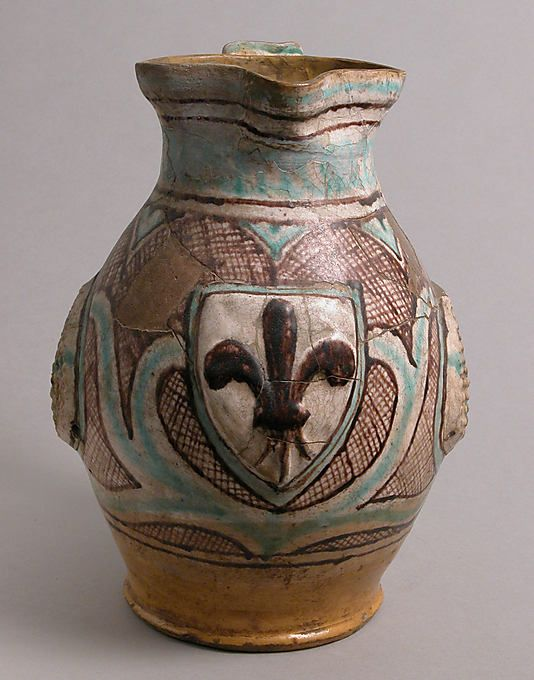 Jug Date: late 14th–early 15th century Geography: Made in probably Orvieto, Umbria, Italy Culture: Italian Medium: Earthenware, tin-glaze (M...
