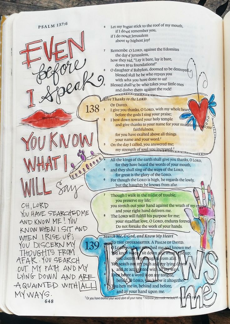 This website has lots of great pixtures and ideas for bible journaling.  BAJ/Psalm138,139SueCarroll