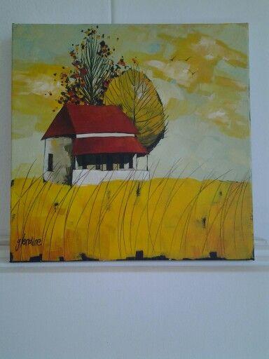 'Karoo cottage' Acrylic on canvas by Glendine