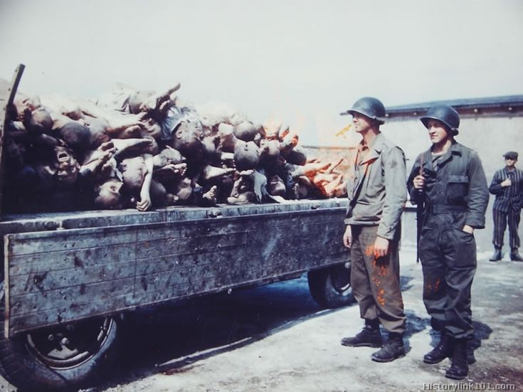 Buchenwald Concentration Camp. Two soldiers look into a truck containing  about 40 bodies at the Buchenwald Concentration Camp. Germany | Pinterest |  B