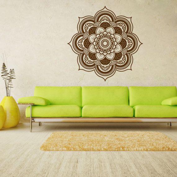 Large Bohemian Flower Mandala Decal for Living by ZestyGraphics.  Easy decor.