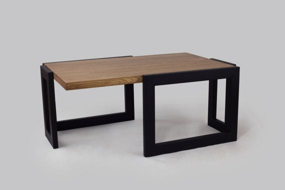 A massive, industrial , oak table mounted on rectangular profiles are attached to two corners. The steel structure measuring 60 x 30 mm was matched to a thick oak table top . Furniture definitely gets your attention and transform any interior in which it is found.  dimensions: 100cm x 60cm x 45 cm (wooden top) Wood Top is 4cm thick.