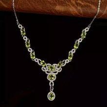 Olivino peridoto verde Natural Collar de piedra natural Colgante de Collar de plata de ley S925 Flores Joyería partido de las mujeres de moda(China)