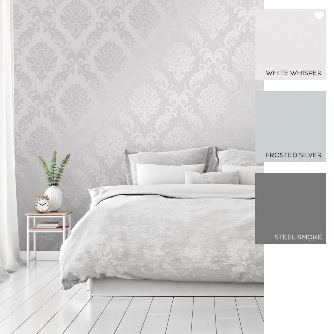Chelsea Glitter Damask Wallpaper Soft Grey Silver In 2020 Feature Wall Bedroom Grey Wallpaper Living Room Grey Wallpaper Bedroom