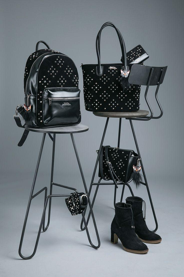 It`s Dark..It`s Glam..It`s DOCA Για σένα που το στυλ σου είναι σοβαρή υπόθεση, ανακάλυψε την πιο hot glam συλλογή σε ένα κατάστημα DOCA. #doca #doca fw1718 #fashion #campaign #stilife #bag #chair #photogarphy