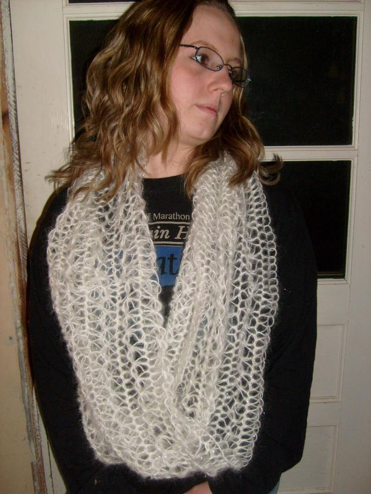 Knitted Infinity Scarf Pattern Pinterest : Hairpin Lace Infinity Scarf Loom knitting Pinterest ...
