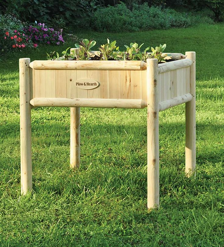 Stand Up Garden : The attractive natural wood raised bed planters enable