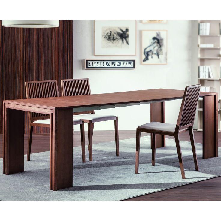 Tavolo consolle rettangolare Long in legno di frassino tinto noce