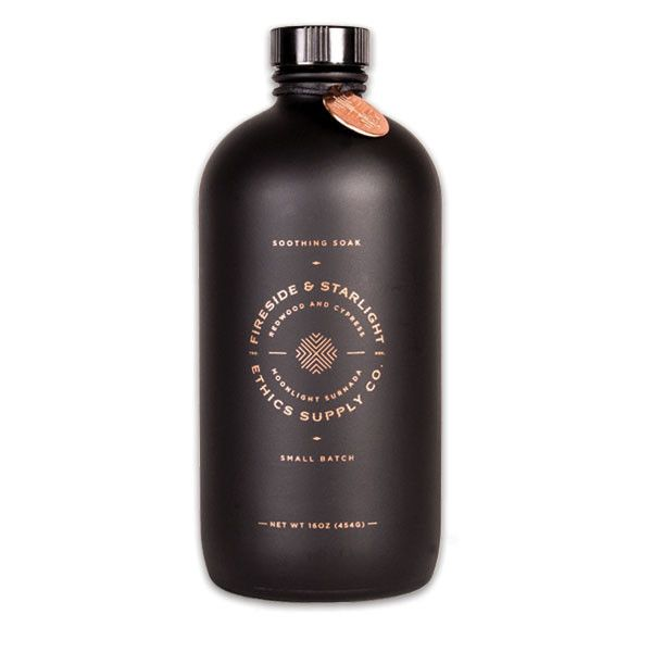 Beautiful brand identity, black bottle, and label design create the perfect package |  Ethics Supply Redwood and Cypress Bath Soak | ShopPigment