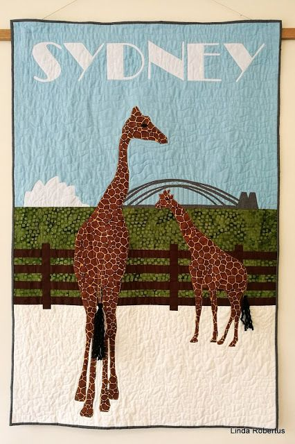 'Sydney', art quilt inspired by vintage travel posters and based on a photo taken at taronga Zoo in September 2016