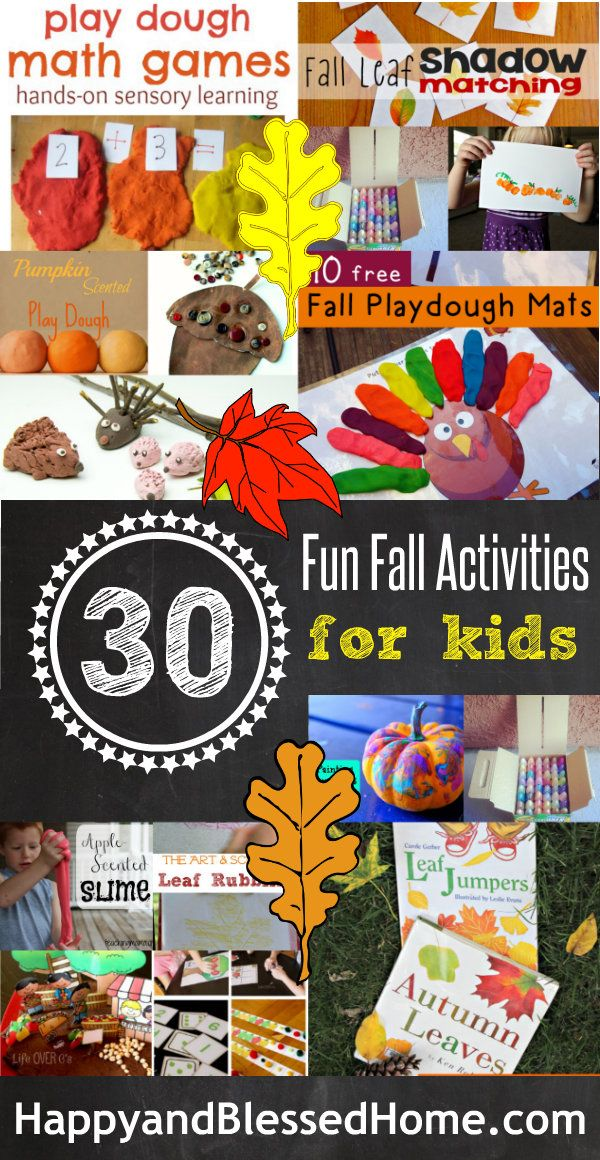 Over 30 Fun Fall Activities for Kids HappyandBlessedHome.com featuring Free Play doh placemats, recipes for scented and taste-safe play doh, math games, slime, leaf rubbings, pumpkin painting and so much more.