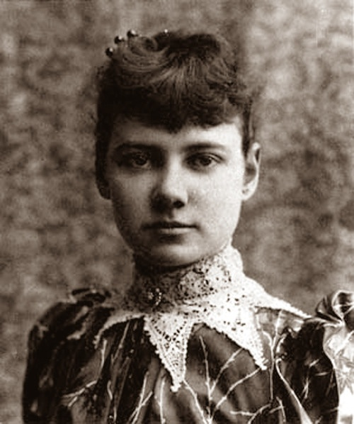 """:Nellie Bly (May 5, 1864 – 1922) was the pen name of pioneer woman journalist Elizabeth Jane Cochran. She remains notable for two feats: a record-breaking trip around the world in emulation of Jules Verne, and an exposé in which she faked insanity to study a mental institution from within.  Photo of """"Nellie"""", 1890: Nelly Bli, Jules Verne, Islands, New York, Around The World, Elizabeth Jane, Nellie Bly, Ten Day, Pens"""