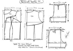 Esquema de modelagem de Macaquinho com Transparência tamanho 52.