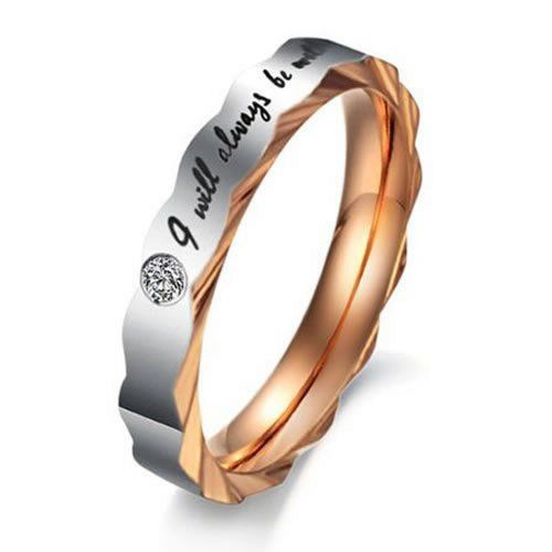 """Women - Size 5 - KONOV Jewelry Stainless Steel Love """"I Will Always Be with You"""" Couples Promise Ring Mens Womens Wedding Bands KONOV Jewelry http://www.amazon.com/dp/B00H3NNZZ4/ref=cm_sw_r_pi_dp_E4agvb0N8SYMW"""