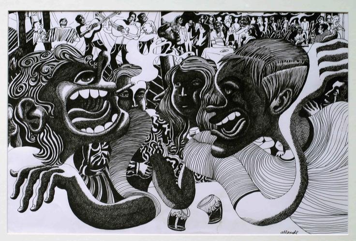 """Fernando Allende Bellido, """"La Ciudad"""", tinta sobre papel."""