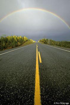 Rainbow, Glen Highway, Alaska, Stock Photo