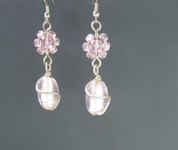 Romantic pink earrings dangle earrings floral by VeraNasfaJewelry