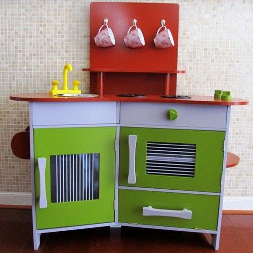 Pretend Play Kids Kitchen SET Green Retro Style Childs Wooden Kitchen | eBay $98.99