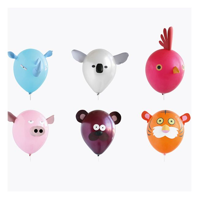 6 ballons têtes animaux