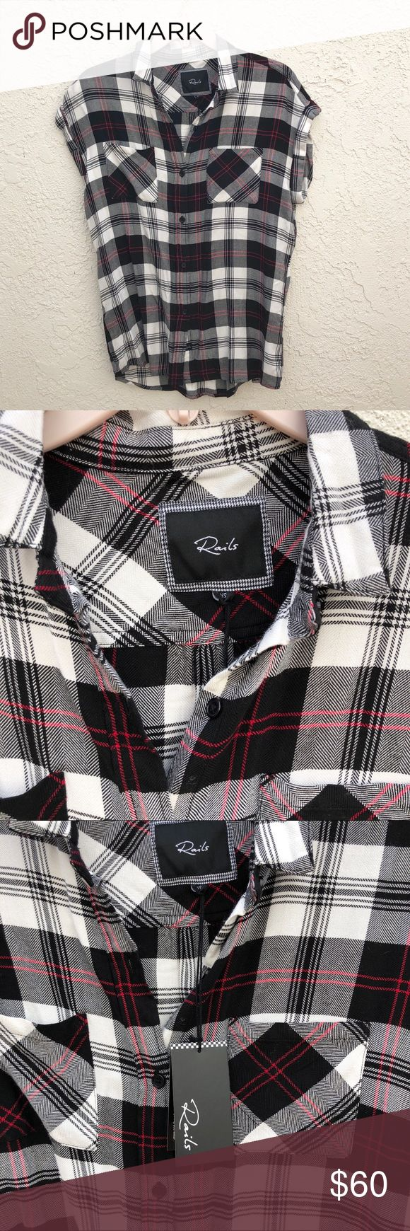 NWT Rails Brit Short Sleeve Flannel Button Down NWT Rails Brit Short Sleeve Flannel Button Down, XS. Perfect condition ! Super soft top quality!  Time to find it a new home. Black with thin red stripes Rails Tops Button Down Shirts