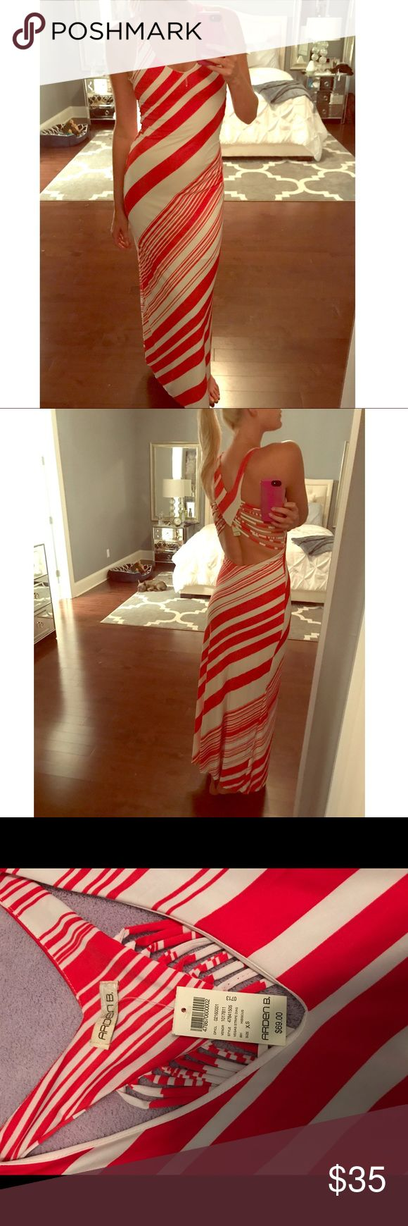 Orange and white backless maxi dress New with tags orange and white maxi dress with open back Arden B Dresses Maxi