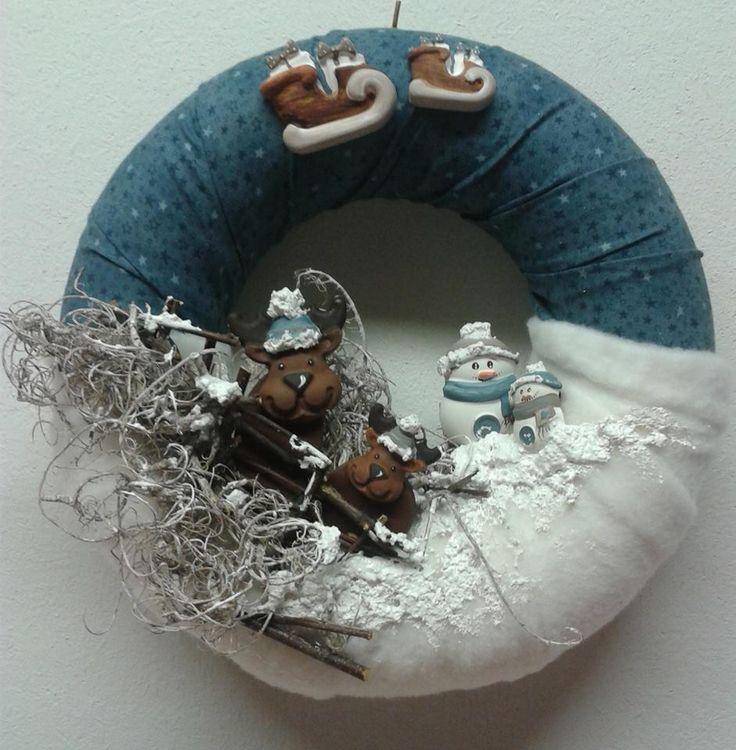 Winter Wreath with mini chalks - by La bottega delle Idee di Lecco