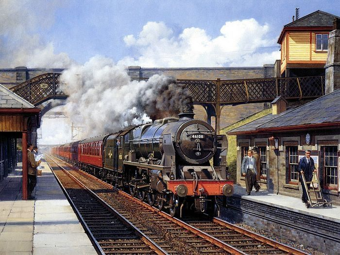 """Royal Scot class """"Seaforth Highlander"""" 46108 - Painting by Phillip Hawkins"""