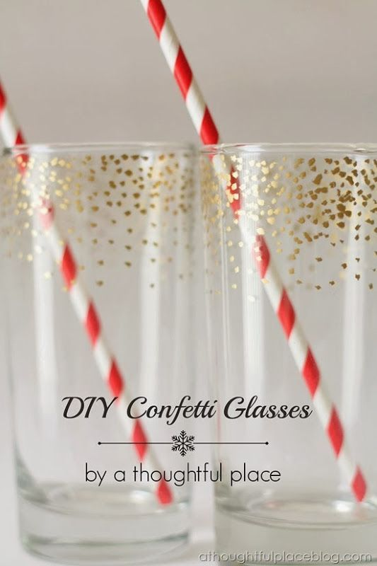 This DIY Gold Confetti Dot Glass is fabulous! I must put this craft project on my to do list for the holidays!