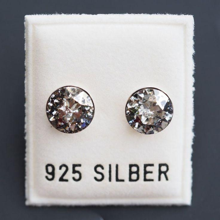 NEU 925 Silber OHRSTECKER 8mm SWAROVSKI STEINE gold patina/goldfarben OHRRINGE-£9,99-magoshop1