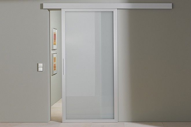 Aluminum internal sliding door in frosted glass sunfold for Frosted glass sliding doors