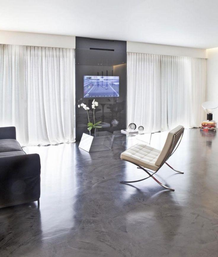 Wohnzimmer In Monochromen Farben Und Imprgnierten Betonboden