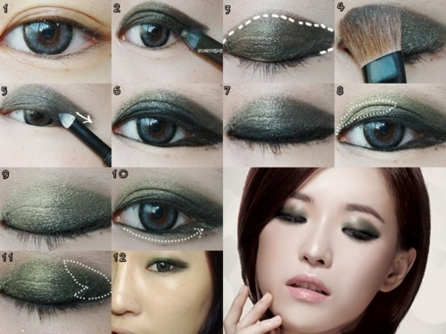 Asian eyes and monolid moss smoky eye makeup   Monolid ...