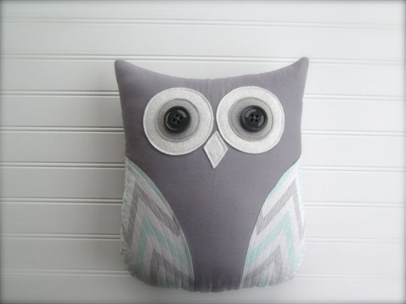 owl pillow, pastel mint green and grey nursery decor, owl, chevron zig zag pillow, home decor, green pillow, whimsysweetwhimsy on Etsy, $36.00