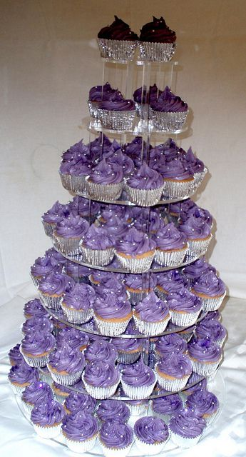 7 tier silver and purple cupcakes by cupcakesandfairycakes, via Flickr