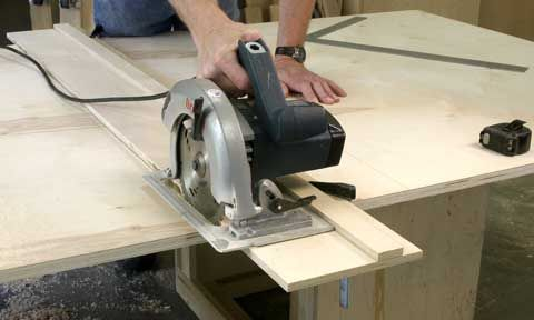 Perfect jig to cut large sheets of ply down to manageable sizes to fit on your table saw to complete final cuts.