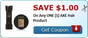 New Coupon!  Save $1.00 On Any ONE (1) AXE Hair Product - http://www.stacyssavings.com/new-coupon-save-1-00-on-any-one-1-axe-hair-product/