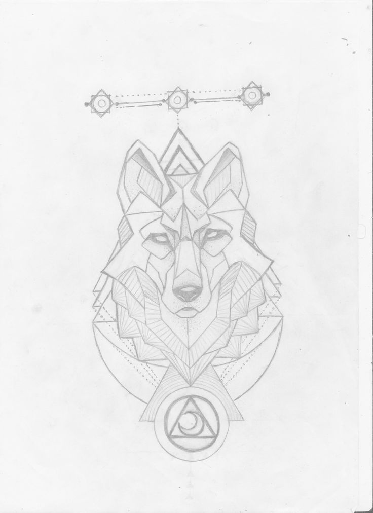 Geometric wolf tattoo design, pencil (29-12-2017)